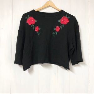 Divided Rose Embroidery Black Crop Top Size M